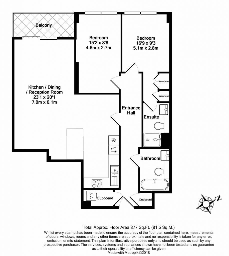 Floor Plan – Flat 1, Compass House, 5 Park Street, London SW6 2FB