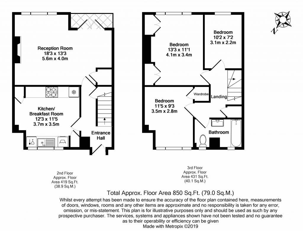 Floor Plan – Flat 13, Brady House, Worsopp Drive, Clapham, London SW4 9RA