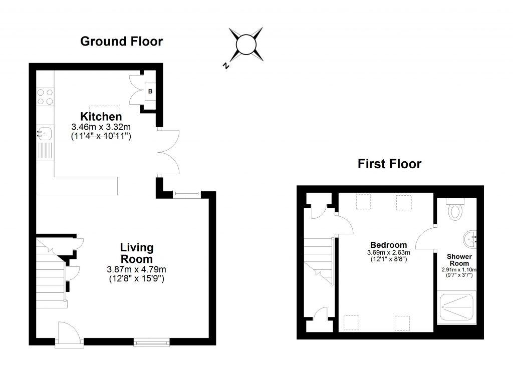 2D Floor Plan – black and white – 8b Shandon Road, London