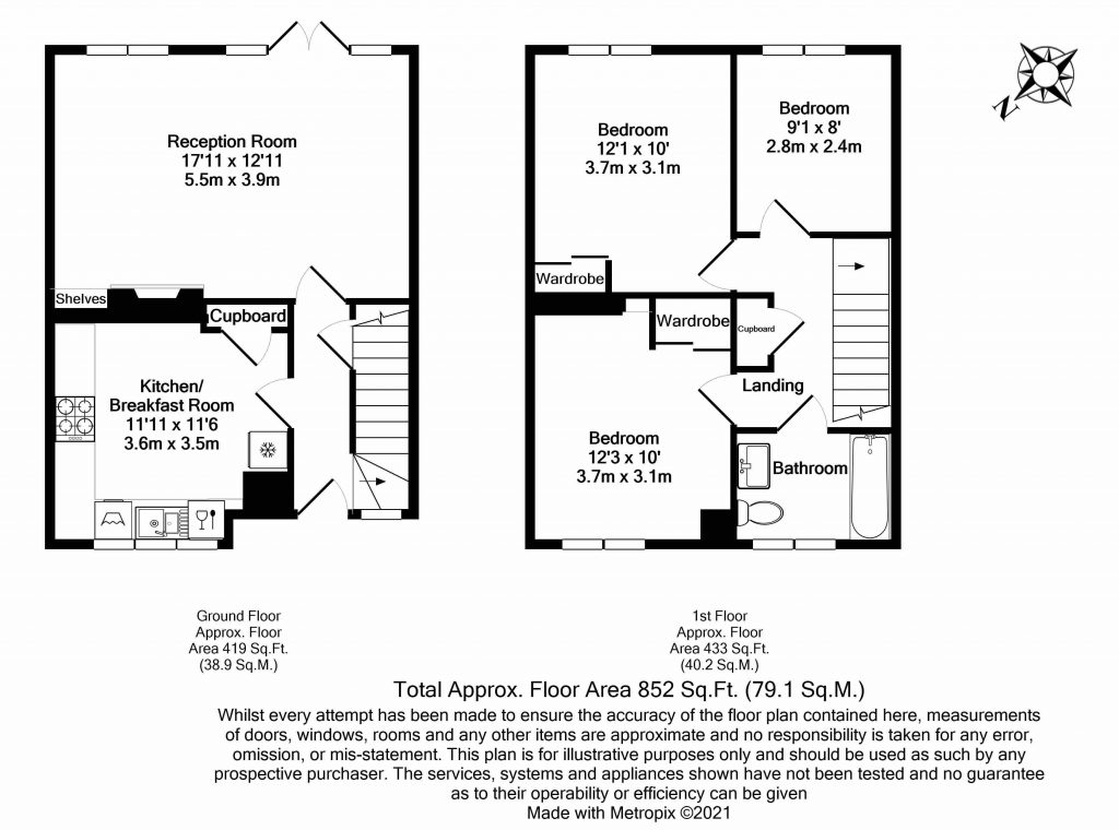 Floorplan – Flat D, 12 Spencer Park, London SW18 2SY